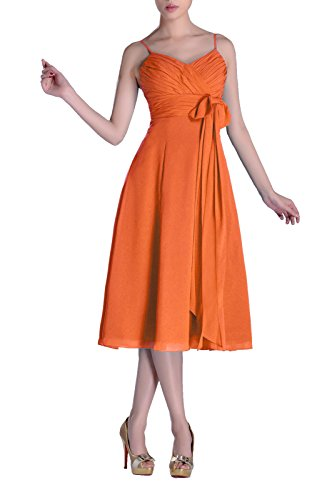 Adorona Homecoming Cocktail Junior A-line V-neck Chiffon Modest Bridesmaid Dress Tea Length, Color Tangerine,12