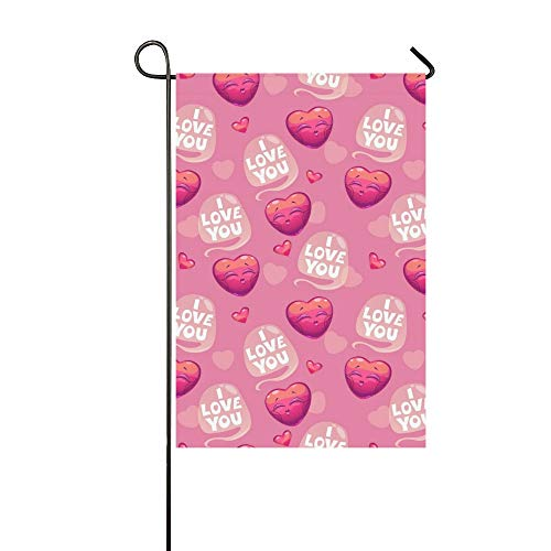 RYUIFI Home Decorative Outdoor Double Sided Cute Pattern Hearts Love You Garden Flag,House Yard Flag,Garden Yard Decorations,Seasonal Welcome Outdoor Flag 12 X 18 Inch Spring Summer Gift - Candy Amore