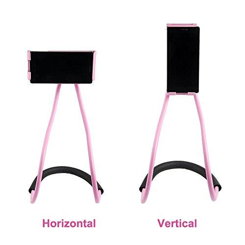 Soporte para teléfono celular Soporte para Tablet PC Soporte perezoso flexible, Soporte giratorio libre para bricolaje con Soporte para colgar cuello para múltiples funciones, Colgante para cuello, So Negro