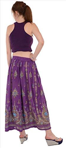 SNS - Falda larga de rayón con lentejuelas, cintura elástica Purple 1
