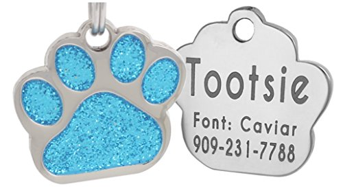 Laser Engraving Glitter Paw Pet ID Tags Custom Personalized for Dog & Cat Paw Print Tag (Turquiose)