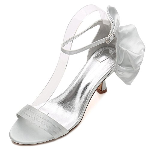 Office Heel Summer 8 Zapatos Silver Prom Mujeres yc Bridesmaid 17061 Low Boda Ribbon L Las De pF8wqOa
