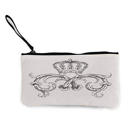 Medieval,Women'S Coin Purses Royal Crown with Vintage Curves King Palace Ribbon Monochrome Retro Style W 8.5