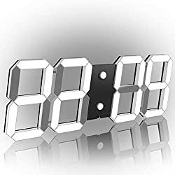 CHKOSDA Remote Control Jumbo Digital Led Wall Clock, Multifunction Led Clock, Large Calendar, Minute Alarm Clock, Countdown Led Clock, Big Thermometer, Mute Clock (Black Shell White Digital)