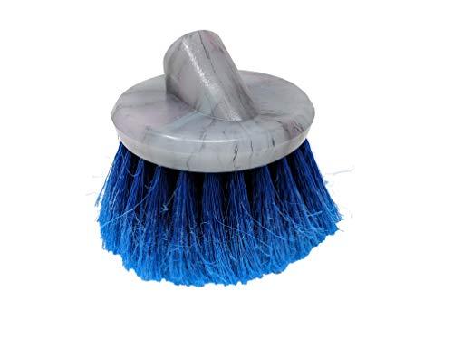 Round Wash Brush - Teravan Blue Round Medium Firm Soft Flow-Thru Brush for Wheel and Utility Cleaning (4 inch - Regular Trim)