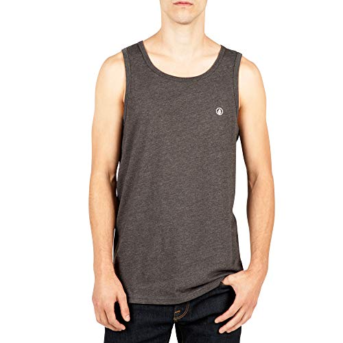 (Volcom Men's Solid Emblem Tank Top, Heather Black, Large)
