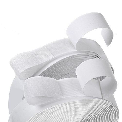 (16 Feet Length 0.75 Inch Width Hook and Loop with Strong Self Adhesive Tape Strip Fastener (White))