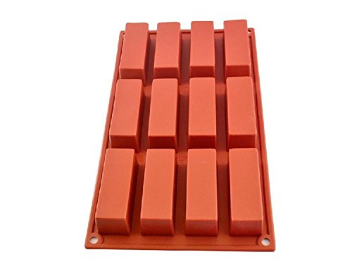 Oggibox Q-26 12-Cavity Slim Rectangle silicone mold for Soap, Bread, Loaf, Muffin, Brownie, Cornbread, Cheesecake, Pudding, and (Molds Silicone Bakery)