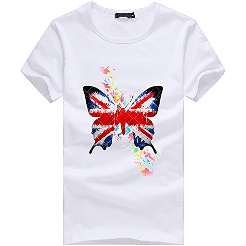 (Men Boy Plus Size Flag Print Tees Short Sleeve Comfy Fashion Cotton Summer Casual T Round Neck Sexy Shirt Blouse Tops White)