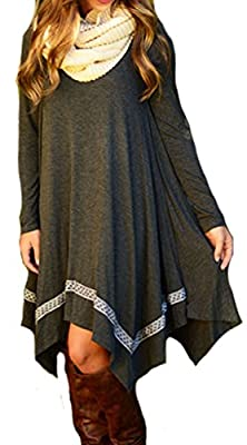 Leezeshaw Womens Long Sleeve Loose Irregular Hem Autumn Dress
