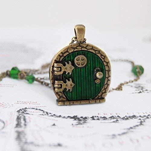 Enchanted Leaves - Green Fairy Door Locket Necklace - Door Locket Pendant - Whimsical Fantasy -