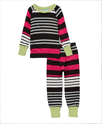 Cat and Cow Girls' Pink & Black Racer Stripe Pajamas