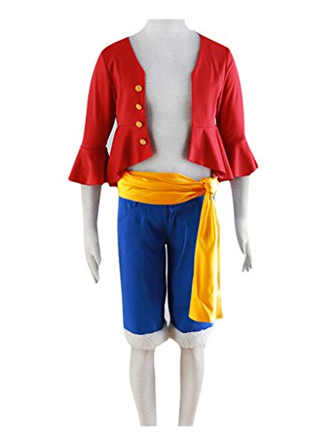 DAZCOS Adult US Size Anime Monkey D Luffy Red Outfit Cosplay Costume (Men (Anime Costumes Men)