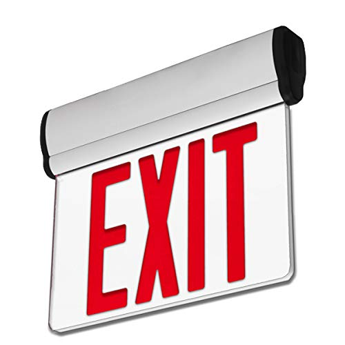 LFI Lights - UL Certified - Hardwired Edge Light Red LED Exit Sign - Rotating Panel - Battery Backup - ELRTR