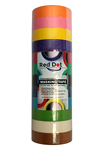 Red Dot Colored Masking Tape - 12 Colors,12 Jumbo 1 x 60 Rolls of Colorful Masking Tape for Moving, Labeling, Coding, Kids Games, Art Teachers Supplies, Best Color Craft Tape