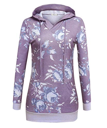 VOIANLIMO Women's Sweatshirts Long Sleeve Button V-Neck Pockets Pullover Hoodies (Print-Purple, ()