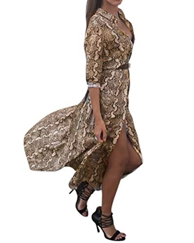 SUUKSESS Sexy Snake Print Chiffon Dress Women Casual Shirt Dress Cover Ups for Swimwear (Small, Yellow)
