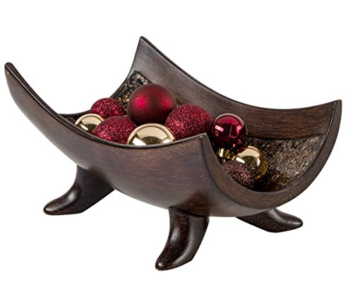 (Creative Scents Schonwerk Decorative Bowl Centerpiece, Crackled Mosaic Design, Functional Coffee Table Centerpieces for Dining/Living Room, Best Wedding/Birthday (Walnut))