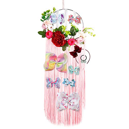 Bow Organizer for Girls Fringe Hair Bows Headband Storage Organizer & Hair Clips Dreamcatcher Holder (Pink)