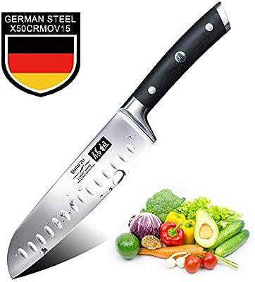 Cuchillo Santoku Japones, SHAN ZU Cuchillos de Cocina Profesionales 18cm, 7 Cuchillo Chef de Acero Inoxidable Alemán de Alto Carbono, Cuchillos ...