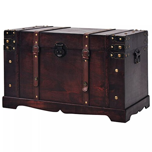 Fesnight Vintage Treasure Chest Wood Storage Box Trunk Cabinet with Latch Closure and Handles for Bedroom Closet Home Organizer Collection Furniture Decor 26
