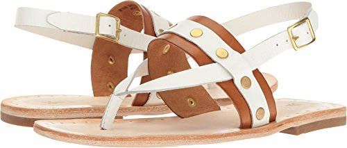 Frye Leather Thongs - FRYE Women's Avery Stud Thong Flat Sandal, White/Multi, 8 M US