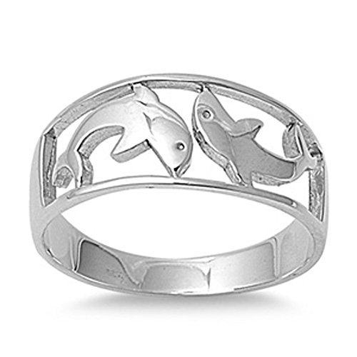 - Sterling Silver Women's Polished Dolphin Ring Wholesale 925 Band 9mm Size 8