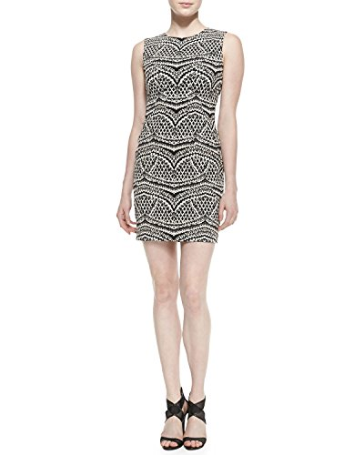 Diane von Furstenberg Pentra Jacquard Dress, Black/Ecru, 4 (Diane Von Furstenberg New Jeanne Two Wrap Dress)