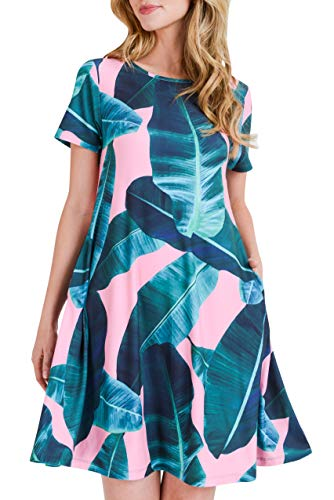 Women's Plus Size Pink Palm Leaf Print Fit and Flare Dress with Pockets - Casual Summer Beach Sundress 3X-Large