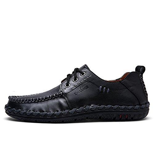 Lapens Heren Sportschoenen Leer Mode Slipper Casual Slip Op Instappers Schoenen Zwart Veterschoenen
