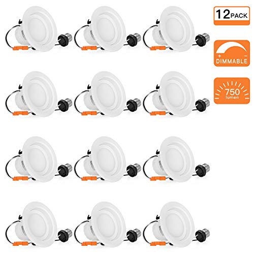 Trim Installation Built In (SGL 12-Pack 4 inch Dimmable LED Recessed Lighting, 9W (65W Replacement), 3000K Warm Light, 750Lm, LED Downlight)