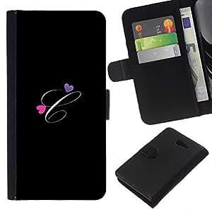 KLONGSHOP // Tirón de la caja Cartera de cuero con ranuras para tarjetas - Negro Iniciales de la letra de la caligrafía del texto - Sony Xperia M2 //