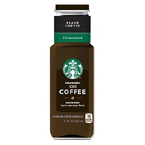 Starbucks Jet-black Iced Coffee UnSweetened 11 oz Glass Bottles - Pack of 12