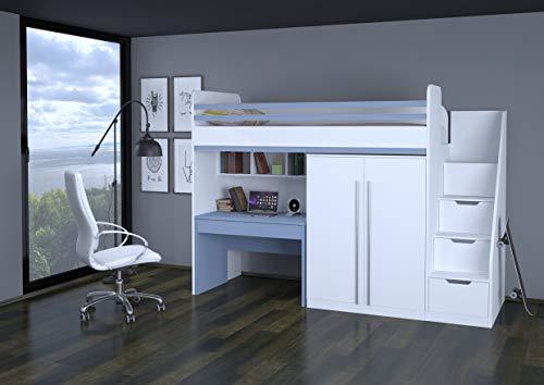 Etagenbett Mit Treppe : Polini city hochbett kombination mit treppe schrank tisch weiß