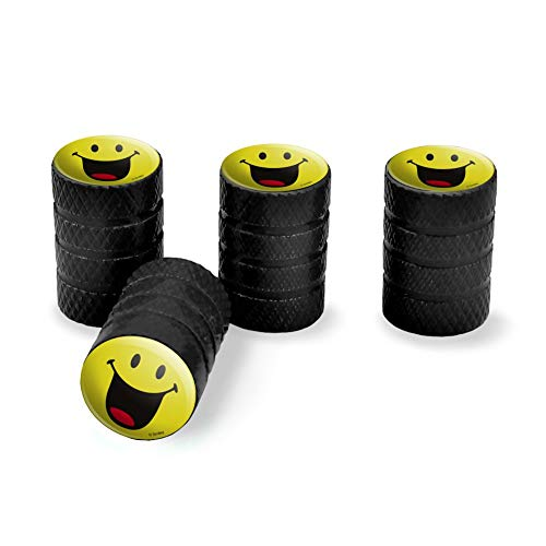 (Graphics and More Smiley Smile Happy Mouth Tongue Yellow Face Tire Rim Wheel Aluminum Valve Stem Caps - Black)