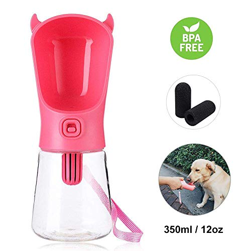 (Domipet Dog Filtration Water Bottle for Walking Indoor Outdoor Healthy Drink Water Portable Pets Travel Water Dispener for Small Dogs Cats - 350ml/12oz (Pink))