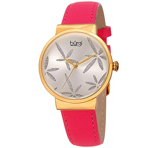 Burgi Women's BUR191 Sparkling Flower Accented Leather Strap Watch (Passion Fruit ()