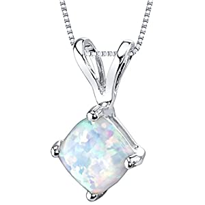 14 Karat White Gold Cushion Cut Created Opal Pendant