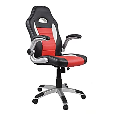 Homall Ergonomic Racing Chair High-Back Gaming Chair PU Leather Bucket Seat,Computer Swivel Lumbar Support Executive Office Chair (Red)