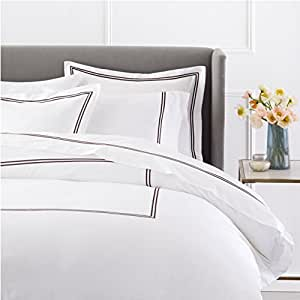 Pinzon 400-Thread-Count Hotel Stitch Duvet Cover - King, Espresso Stripes