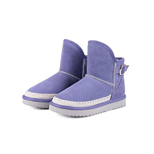 wdjjjnnnv Women's Casual Flat Bootie Short Tube Thickened Lamb Fur Snow Boots PURPLE-34 pAq1vB