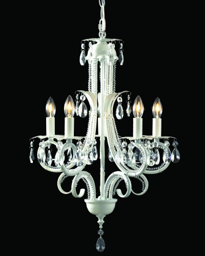 (Z-Lite 849W Parisian Crystal Five Light Crystal Chandelier, Metal Frame, White Finish)
