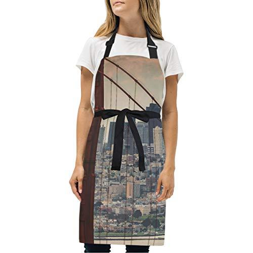 abcffaaQ Adjustable Neck Apron Pocket & Extra-Long Ties, Men Women Kitchen Apron Cooking, Baking, Crafting, Gardening, BBQ - San Francisco Bridge