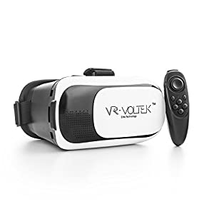 Virtual Reality Goggles Headset - VR Gear Video Glasses + Wireless Bluetooth Joystick - Immersive Virtual Gaming, 3D Movies, TV and Videos - VR Voltek