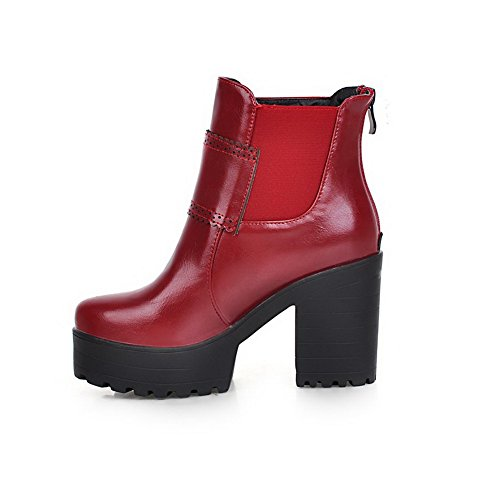 Heels Claret Women's Solid Zipper Low Soft top High Boots Allhqfashion Material xfwPPq
