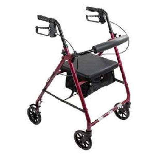 Aluminum Rollator Rolling Walker with Medical Curved Back Soft Seat Light Weight (Burgundy) ()