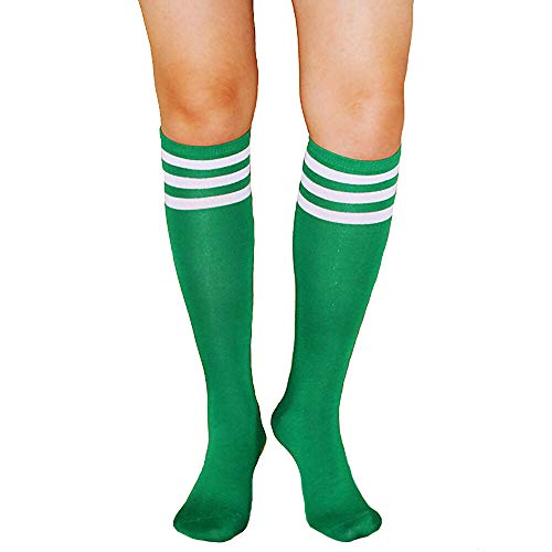 Unisex Striped Knee High Socks Rainbow Women Girls Over Calve Athletic Soccer Tube Cool Fun Party Cosplay Socks, Green+White Stripe, One Size 6-11]()