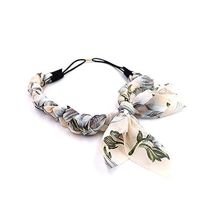 Westeng 1Pcs Bandeau Cheveux Motif Floral Hairband Nœud Papillon Twist Tresse Bandeau Serre-Tête Cheveux Accessoires pour Femmes
