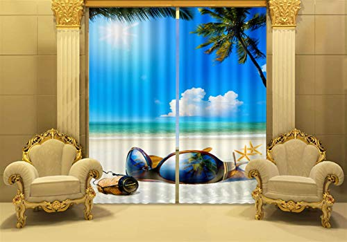 ONCEFIRST Living Room Bedroom Decoration Curtain Window Drapery 100% Blackout Digital Printed Decor with Grommets Top 2 Panels Set Sunglasses 79.9