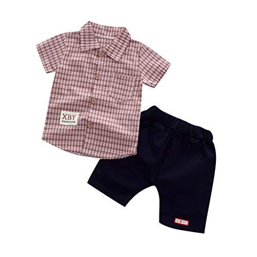 Clothes Set, Toddler Baby Boy Summer Gentleman Plaid Short Sleeve Tops +Denim Shorts Pants 2PCS Outfits Sets -